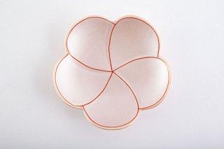 ピンク銀色【捻り梅形皿・中】