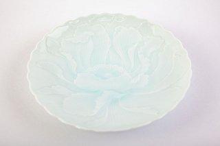 青白磁牡丹彫【和皿】