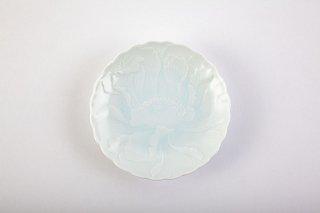 青白磁牡丹彫 小皿