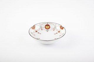 錦日輪赤玉瓔珞文 小皿