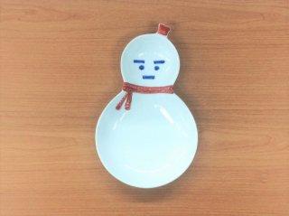 雪だるま ひさご型二品盛(赤)