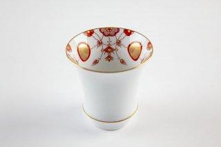 匠の蔵 酒グラス(反) 錦瓔珞文(赤)