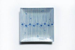 染付呉須十草桜 六寸正角皿