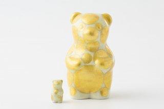 momoco bear 【小野鉄兵/釉裏金彩 ドット 淡黄】ミニbear付