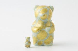 momoco bear 【小野鉄兵/釉裏金彩 ドット 淡緑】ミニbear付
