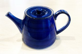 藍濃とび鉋 ポット(金網付き)