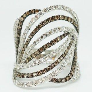 2色のダイヤモンドリング K18WG