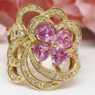 お花モチーフピンクサファイヤの大振りなリング K18YG