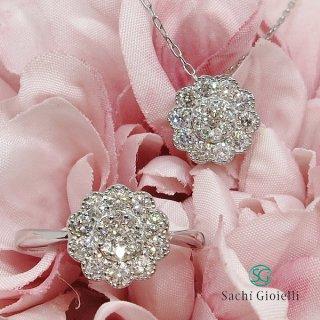 0.4カラットお花モチーフダイヤモンドペンダントネックレス Pt900