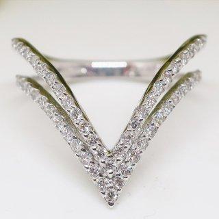 二連Vラインのダイヤモンドリング Pt900