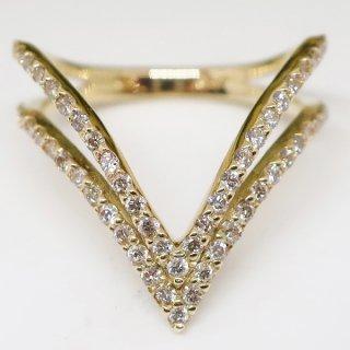 二連Vラインのダイヤモンドリング K18YG