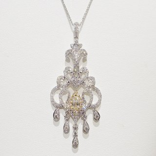 プリンセスのような華麗なダイヤモンドネックレスペンダント Pt900/K18YG