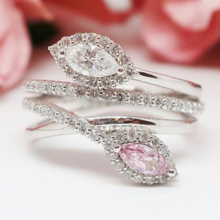 ファンシーパープリッシュピンクのピンクダイヤモンドリング Pt900
