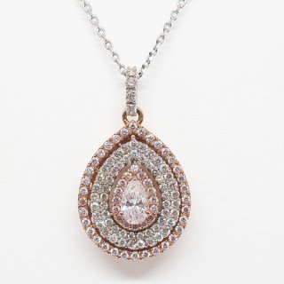 天然ピンクダイヤのゴージャスなペンダントネックレス 18WG/K18PG