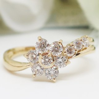 お花モチーフのダイヤモンドリング K18YG