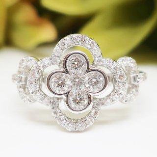 極上の細工が施された華麗なダイヤモンドのリング K18WG