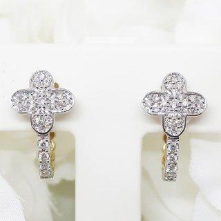 ダイヤモンドとホワイトシェルのリバーシブルのイヤリング K18WG