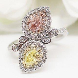 ピンクダイヤモンド&イエローダイヤモンドの気品溢れるリング PT950/K18YG/K18PG