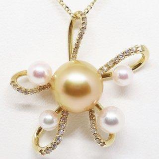 華のある南洋ゴールデンパール&アコヤ真珠のペンダントネックレス K18YG