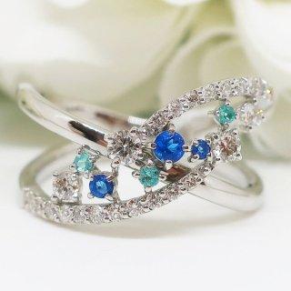 稀少石パライバトルマリン・アウイナイトとダイヤモンドのプレミアムな煌めきのデザインリングPT900