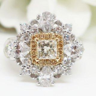 高貴な輝きにを放つイエローダイヤモンドリング PT900/K18YG