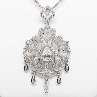 シャンデリアの様な煌めきのダイヤモンドペンダントネックレス K18WG