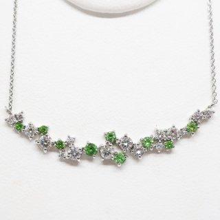 デマントイドガーネットとダイヤモンドのラインネックレス