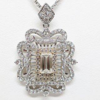 極上の透かしデザインのバケットカットのダイヤモンドネックレス K18WG/K18YG