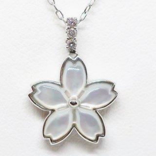 桜モチーフのホワイトシェルとパヴェダイヤモンドのリバーシブルペンダントネックレス K18WG