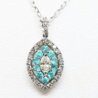 パライバトルマリンとダイヤモンドの上品なペンダントネックレス PT900