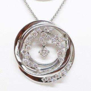 鏡面仕上げのゴージャスなダイヤモンドペンダントネックレス K18WG
