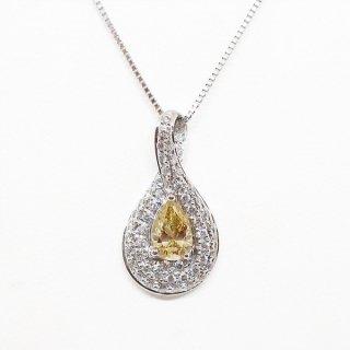 0.56カラットの黄金の煌めきを放つイエローダイヤモンドのペンダントネックレス PT900