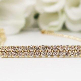 ダイヤモンドとゴールドのさりげなく纏う贅沢なブレスレット K18YG