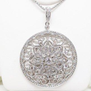 王家の宝飾スタイル漂うダイヤモンドのペンダントネックレス K18WG