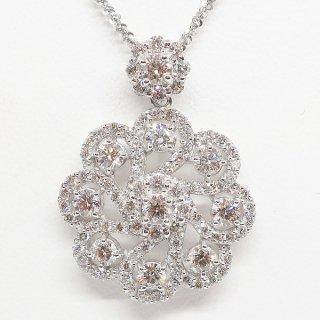 豪華で大振りのダイヤモンドペンダントネックレス PT900