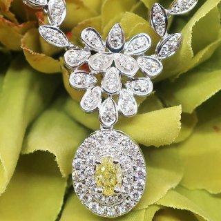 至極のイエローダイヤモンドを施したペンダントネックレス K18WG