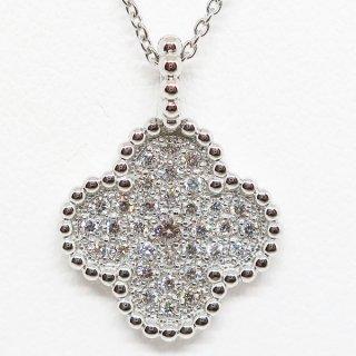 四つ葉のクローバーのダイヤモンドペンダントネックレス PT950
