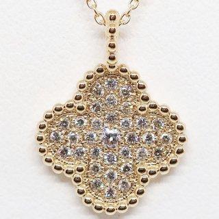 四つ葉のクローバーのダイヤモンドペンダントネックレス K18YG