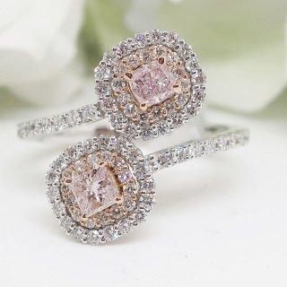 希少石ピンクダイヤモンドを2石も施したリング PT950/K18PG