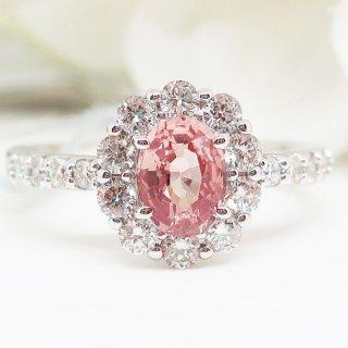 王道のダイヤモンドの取巻きのパパラチアサファイアのリング PT950