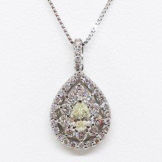 0.5カラットのペアシェイプカットの可憐なダイヤモンドネックレス PT900
