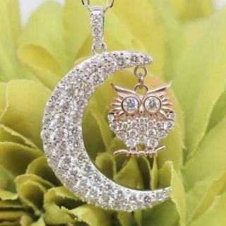 ふくろうと月のロマンティックなダイヤモンドジュエリー K18WG/K18PG