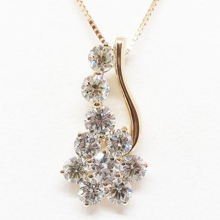 お手頃価格の1.00カラットの煌めくスイートテンダイヤモンドペンダントネックレス K18YG
