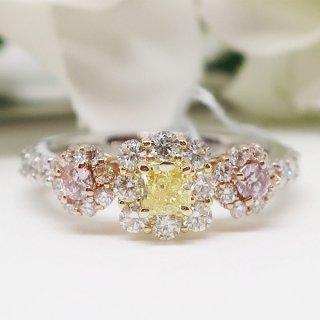 神秘的な希少石ピンク&イエローダイヤモンドのリング Pt950/K18PG/K18YG