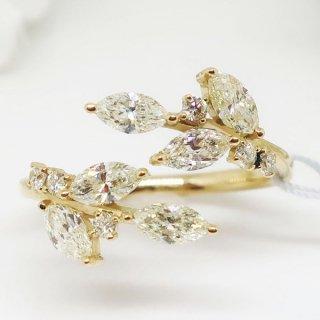 オリーブモチーフのダイヤモンドフォークリング K18YG
