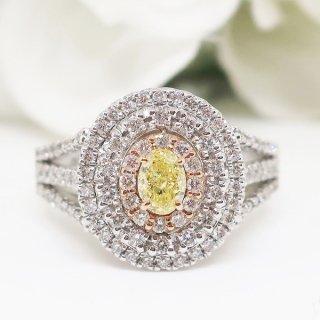 期間限定価格!高貴なイエローダイヤモンドが放つ神秘の煌めきリング PT950/K18PG