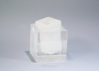 CUBE花器 白【オリジナル・一点もの | パートドヴェールガラス花瓶】