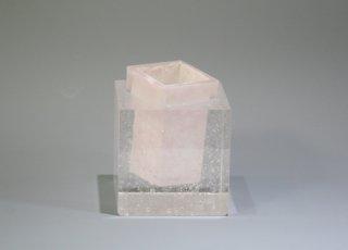 CUBE花器 ピンク 【オリジナル・一点もの | パートドヴェールガラス花瓶】