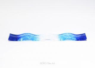 ガラスオブジェ カードスタンド-波-1【オリジナル・一点もの   ガラスカード立て】