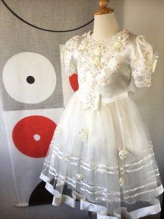 (G-110-22)ビーズが可愛い白のドレス110cm